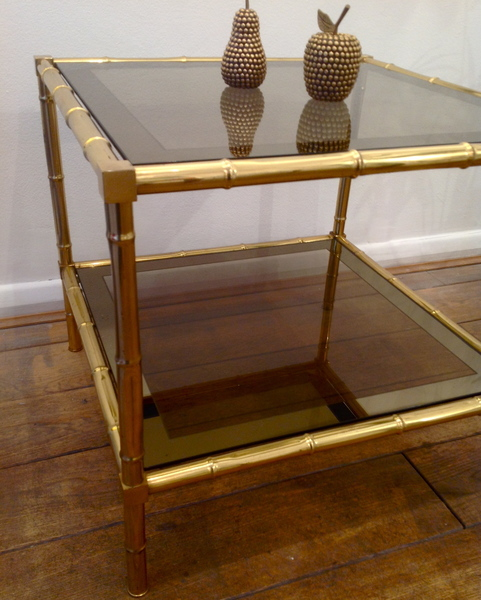 Faux Brass Bamboo Table
