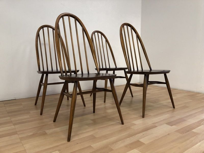 Ercol Vintage 1960 S Mid Century Dark Elm Quaker Dining Chairs Model 365