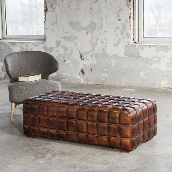 Vintage Style Large Brown Patchwork Leather Foot Stool    Table