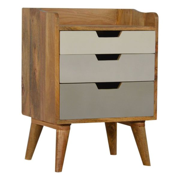 Painted Mango Wood 3 Drawer Bedside Table