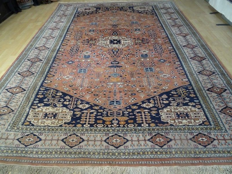 Large Abdaheh Hand Made Carpet Rug  In Terracotta And Blues 11ft 1 X 8ft