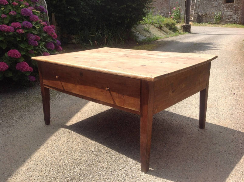 Antique French Pine Large Farmhouse Dairy Table Server With Drawer