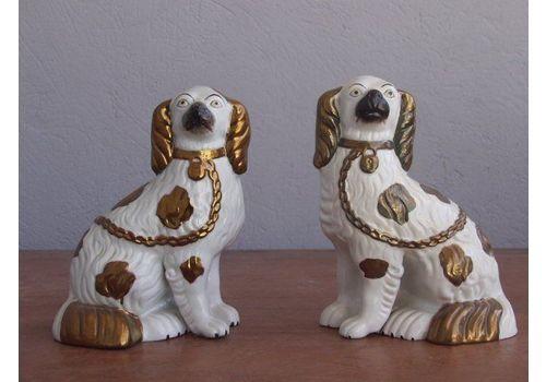 Pair Of English Ceramic Dogs 1880