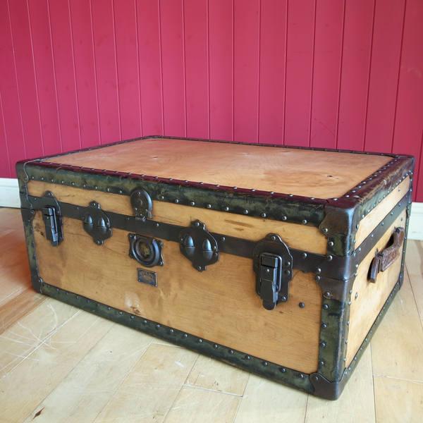 Antique Vintage Steamer Trunk Coffee Table 1930s Storage Chest With Original Interior