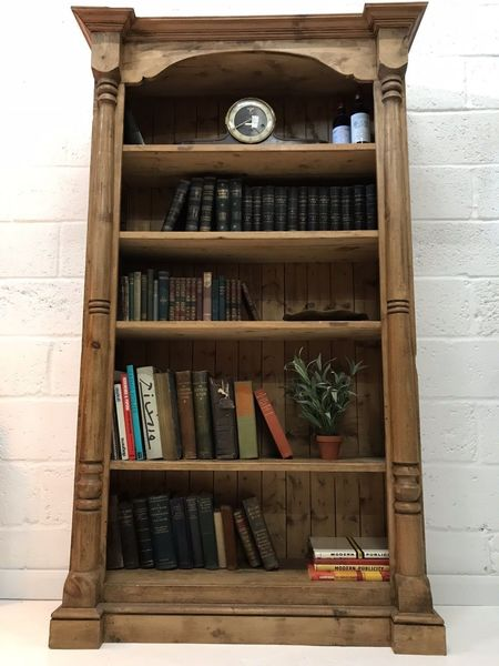 Decorative Chunky Rustic Rough Cut Pine Bookcase