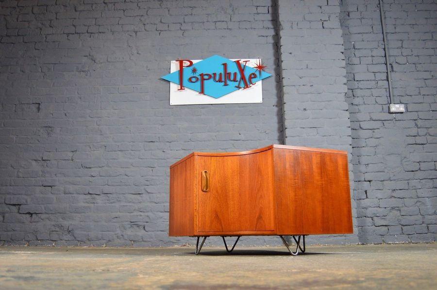 Vintage Retro Mid Century G Plan Corner Tv Cabinet Teak Industrial Hairpin Legs