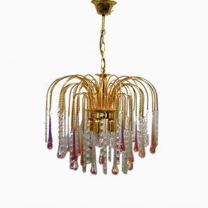 Vintage Brass Teardrop Chandelier With Pink Crystal Murano Glass, 1960's
