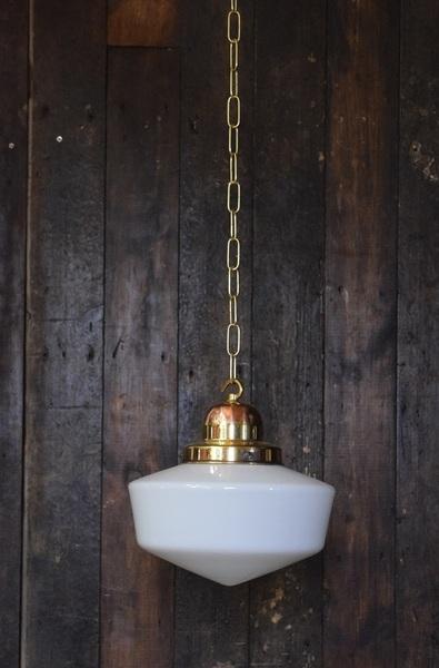 'Bernadette' Medium Sized Opaline White Glass Pendant Light With Brass Gallery