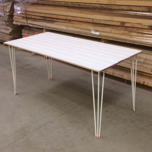 White 6 Seater Solid Wood Dining Table With White Hair Pin Legs