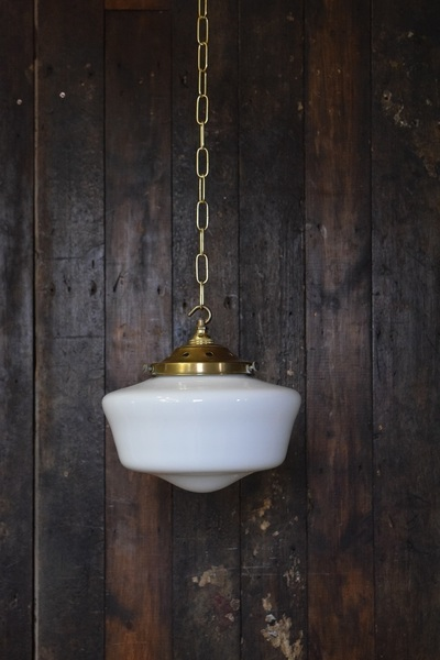 'Amy' Medium Sized Opaline White Glass Chapel Light With Brass Gallery