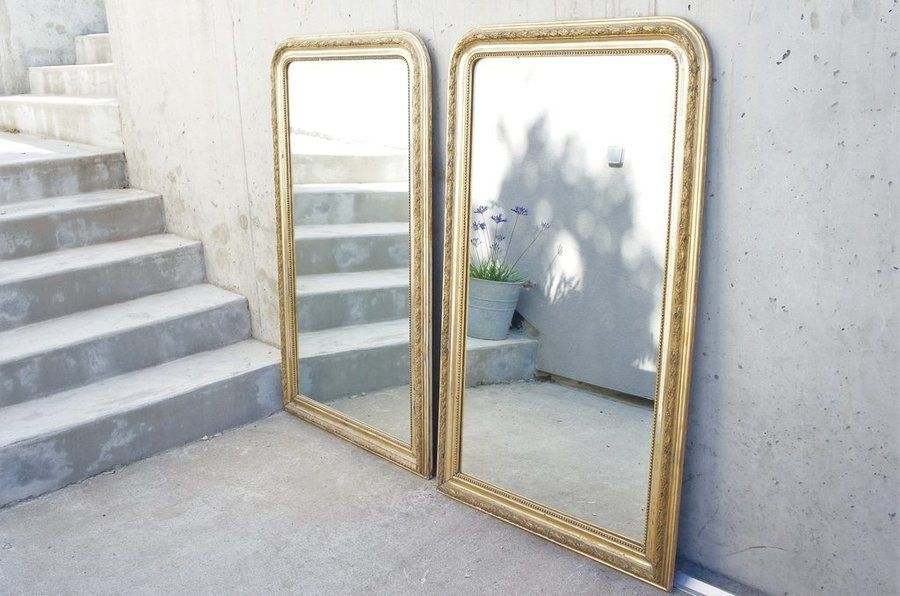 Pair Of Large Louis Philippe Gold Leaf Mercury Glass Mirrors Vinterior