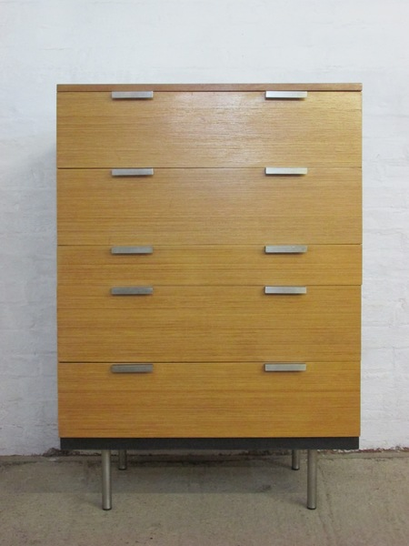 Retro 1960s Stag Fineline John And Sylvia Reid Birch Chest Of Five Drawers