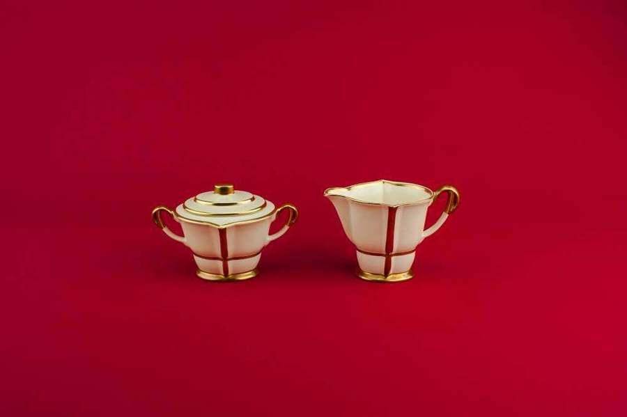 Milk And Sugar Set Elegant Vintage Serving Creamer Bowls Geometric Carlton Ware Dinner Pottery Cream Art Deco Medium Gift