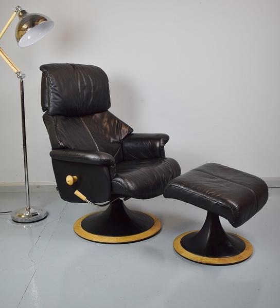 Mid Century Danish Retro Swivel Armchair Black Leather C G Lindgren B D Mobler