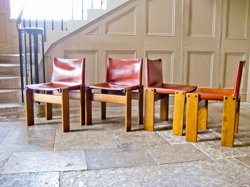 Set Of Four Monk Chairs By Tobia Scarpa For Molteni