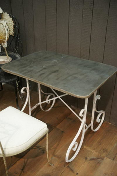 Unusual Garden Table With Zinc Top