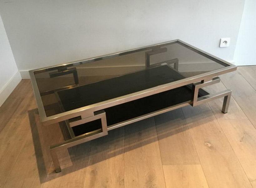 Beautiful Modernist Chrome Coffee Table. Circa 1970