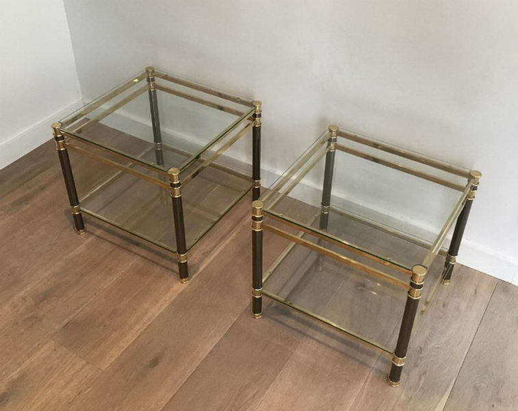 Nice Pair Of Gun Metal And Brass Side Tables. Circa 1970