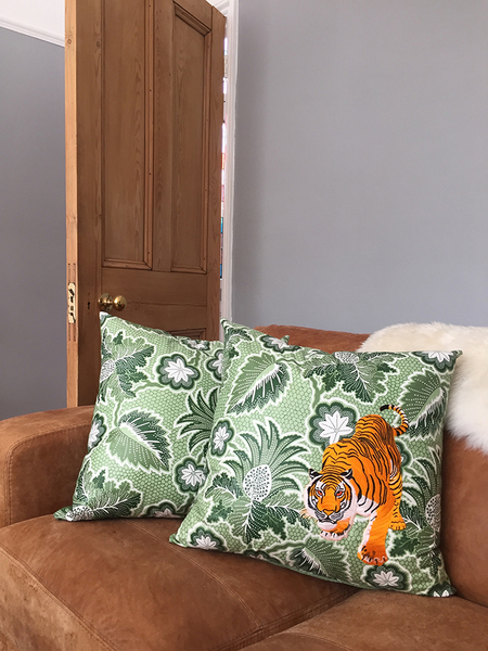"""The """"Tyr The Tiger"""" Large Pair Of Cushions"""