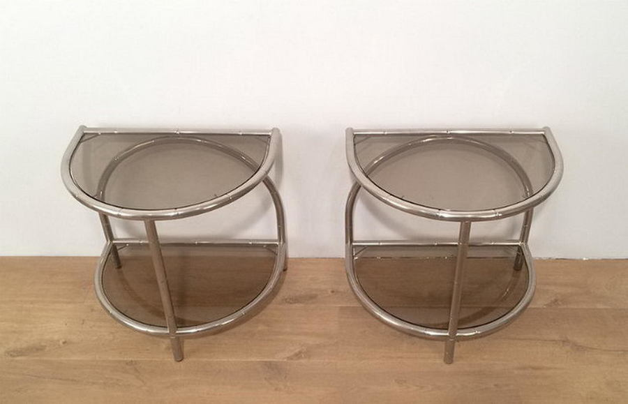 Pair Of Faux Bambou Nickel Rounded Side Tables. Circa 1970