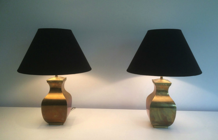 Pair Of Brass Lamps. Circa 1970