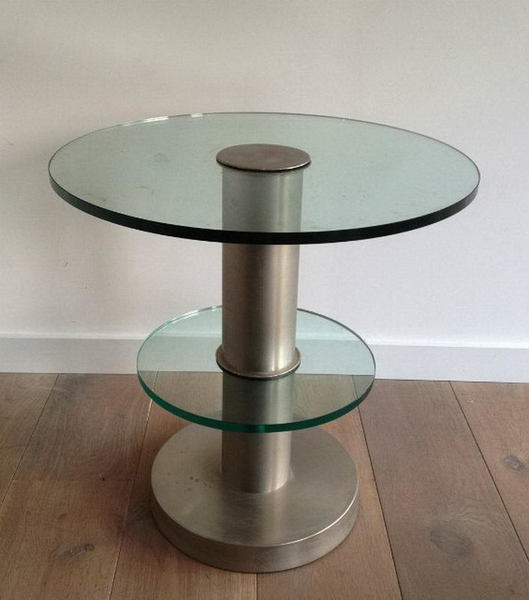 Very Nice Brushed Metal And Glass Round Occasionable Table. Circa 1960