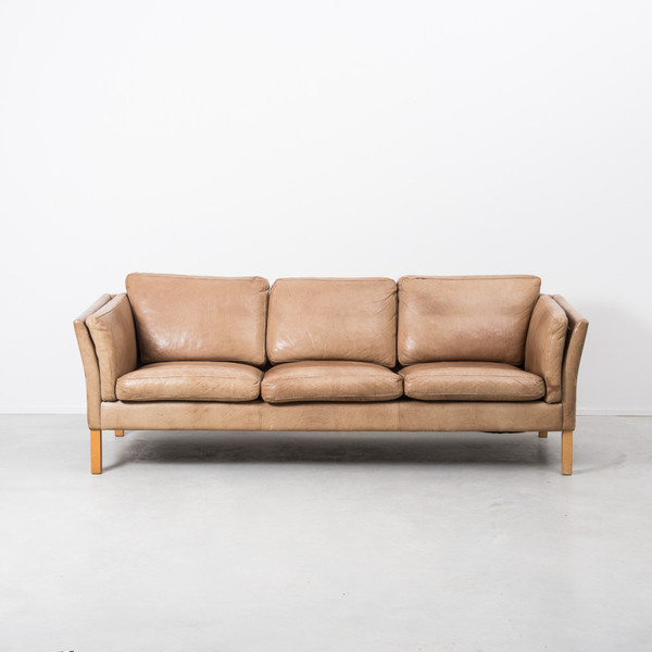 Erik Jørgensen Tan Leather 3 Seater Sofa