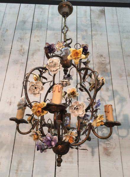 Porcelain Flowers Bronze Cage Chandelier. Circa 1920