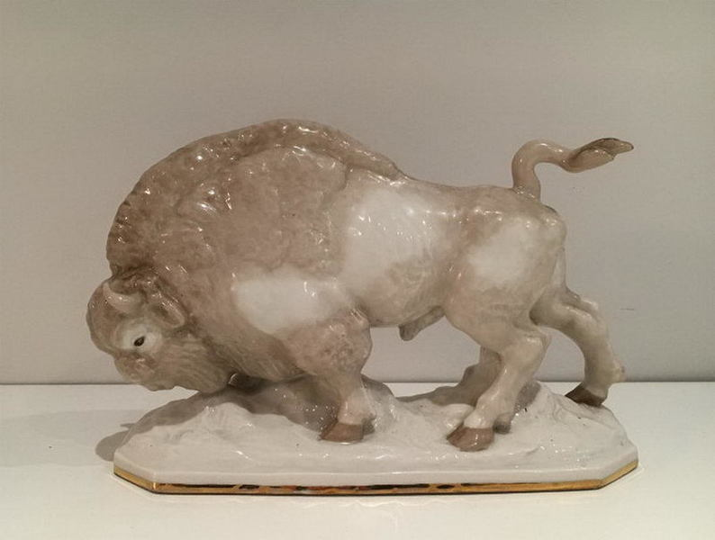 Porcelain Stylish Bison. Circa 1900