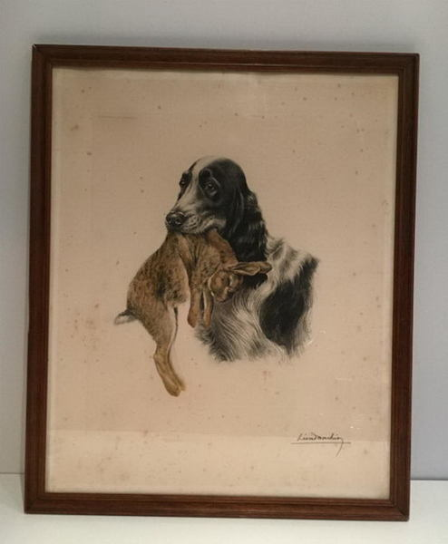 Léon Danchin ((1887 1938). Colored Lithography. English Setter And Rabbit. Circa 1920