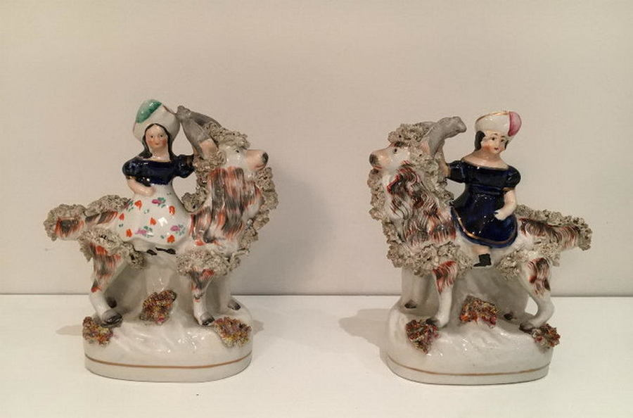 Staffordshire. Pair Of Characters Riding Stylished Aries. Circa 1880