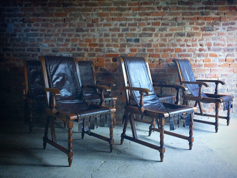 Italian Dining Chairs 6 Set Of Six Antique Walnut Leather Slung Seats Unique