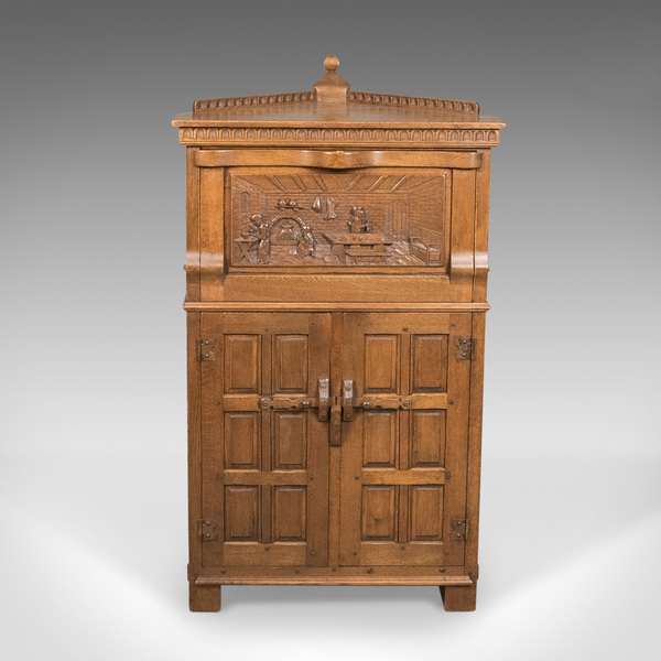 Mid Century Carved Oak Corner Cupboard, Cabinet With Gothic Overtones
