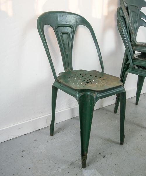 Set Of 4 1940s Original Multipl Green Chairs