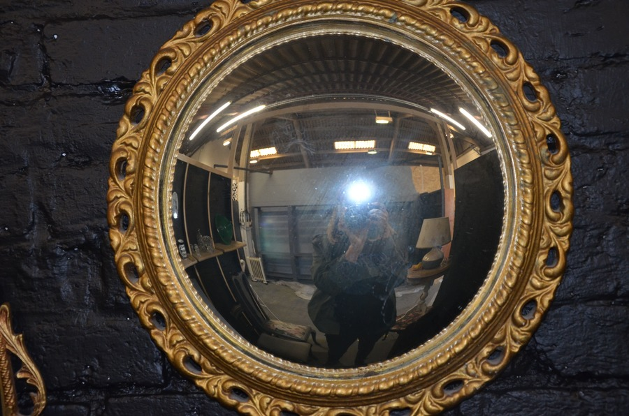 Set Of 3 Vintage Mirrors Convex Porthole With Gilt Gesso Frame And Oval Rococo Design