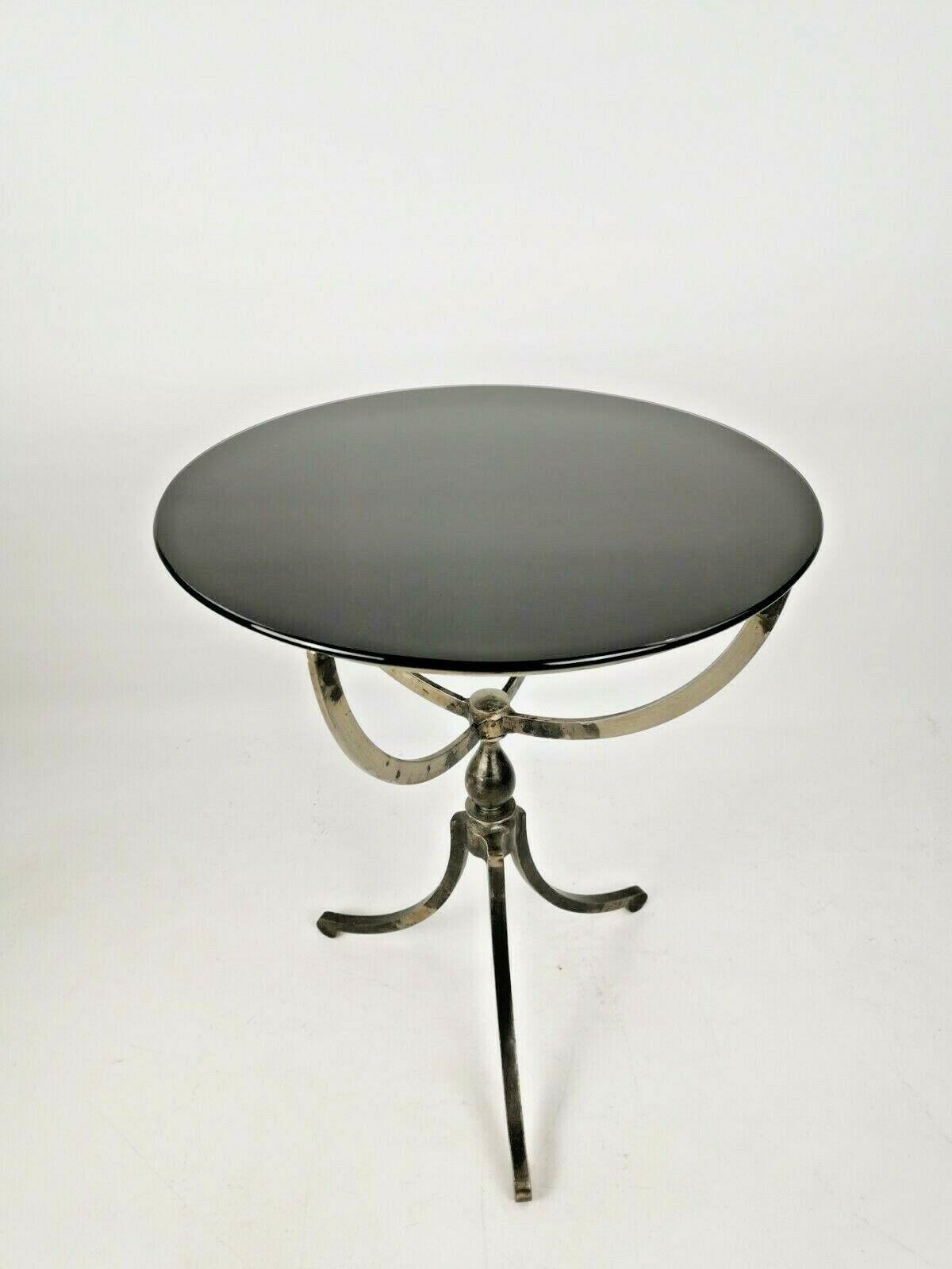 Vintage Antique Round Black Glass Side Table With Metal Legs Vintage Vinterior