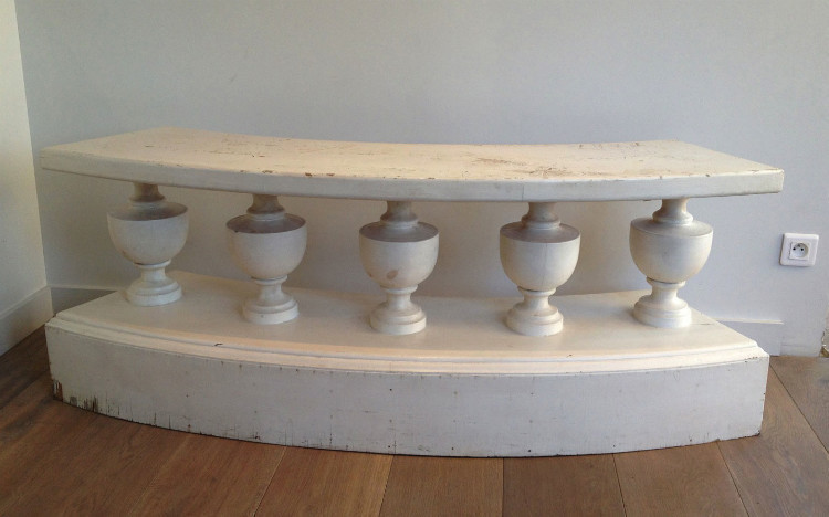 Decorative Curved Painted Bench. Circa 1940