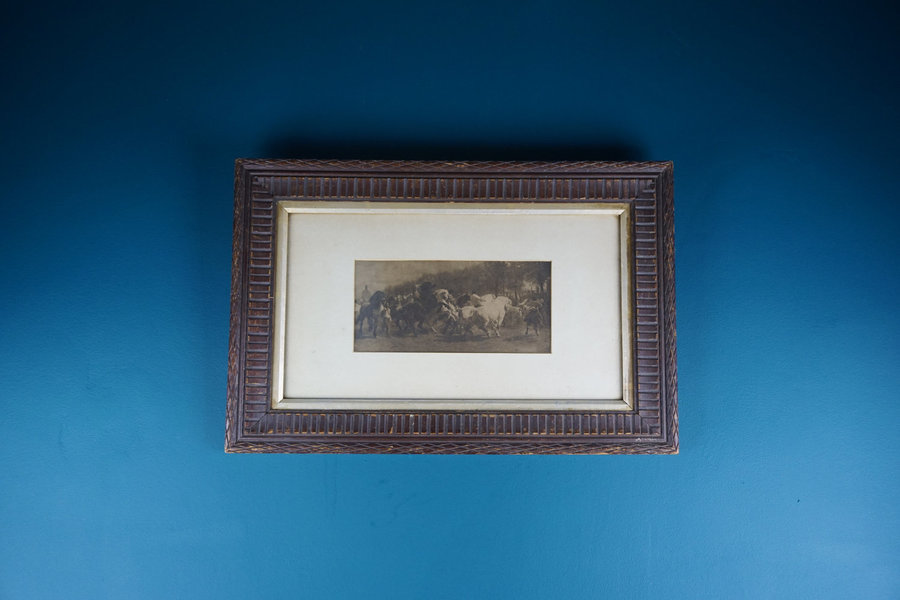 Antique Framed Picture Of Wild Horses