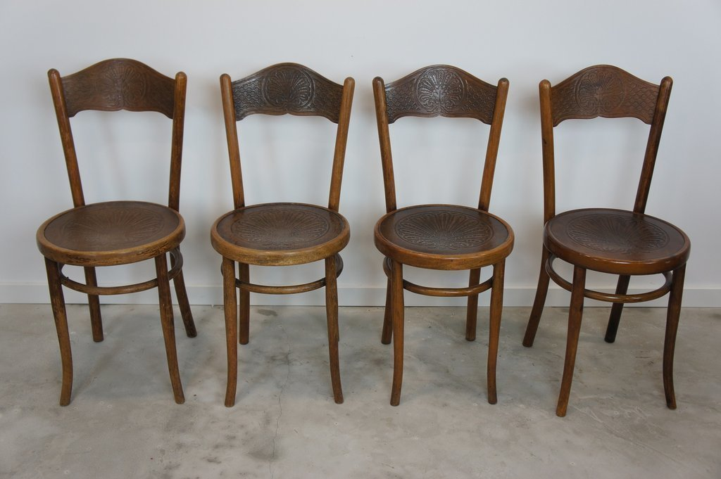 Set Of 4 Embossed Decorative French Bistro Chairs Marked J J Kohn