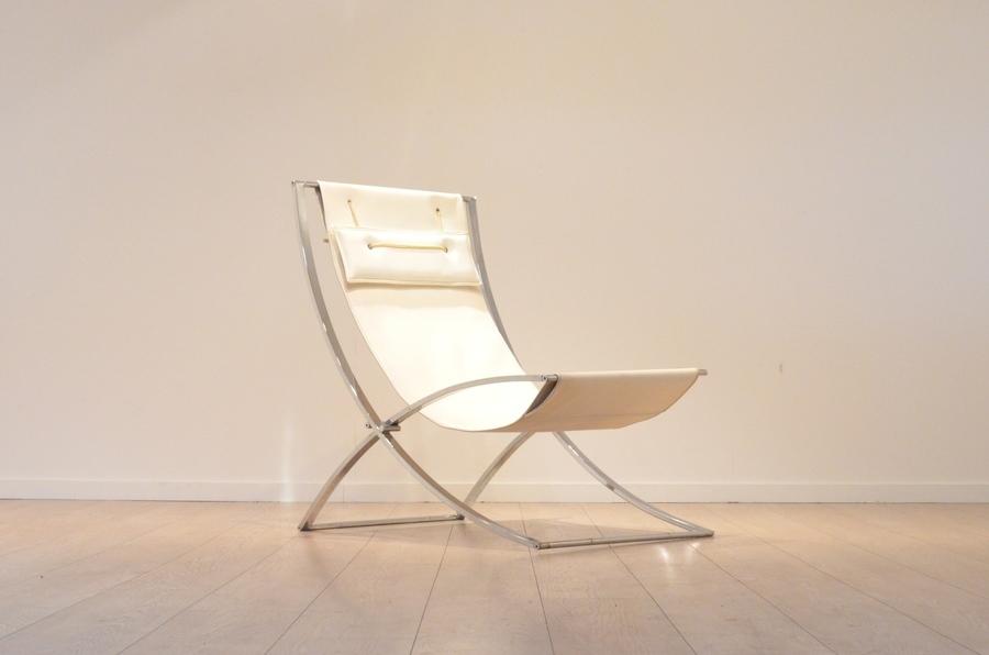 Italian Design : Chrome & Skai Marcello Cuneo *Luisa* Lounge Chair