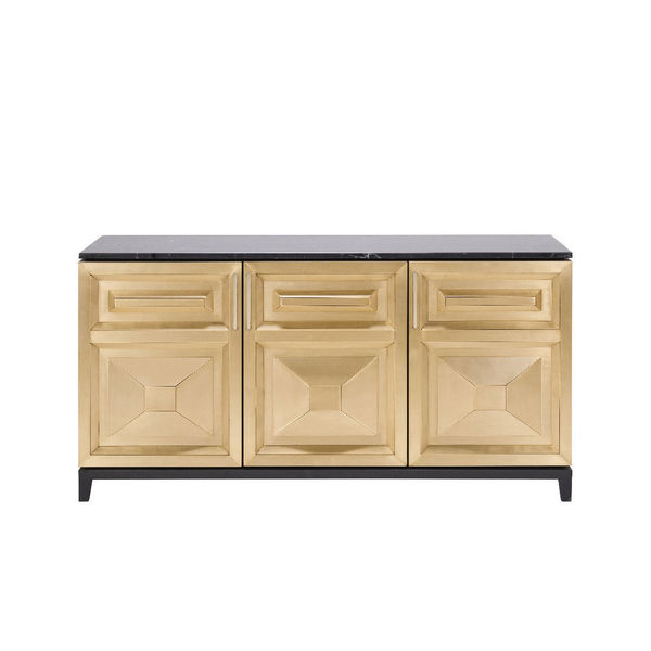 Amazing Timothy Oulton Leonidas Sideboard Credenza Brass Marble Rrp £6800