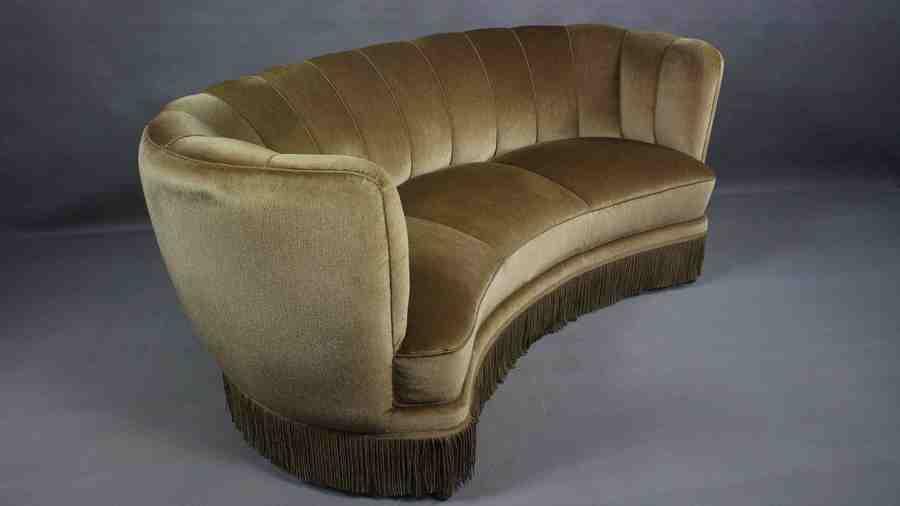 Danish Curved Velvet Banana Sofa, 1950s