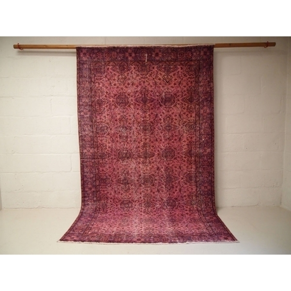 Pink And Purple Vintage Turkish Over Dyed Rug photo 1