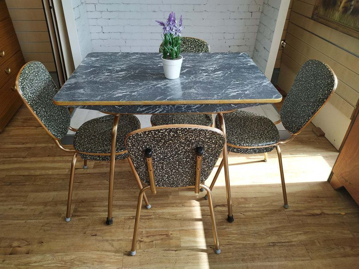 vintage formica kitchen table  4 chairs marble effect