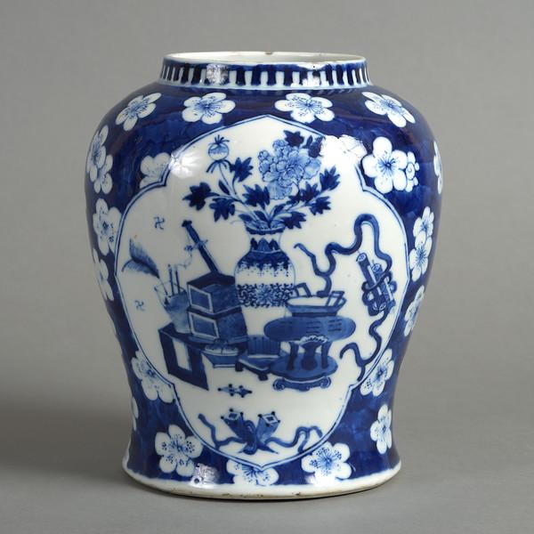 19th Century Blue & White Porcelain Baluster Vase
