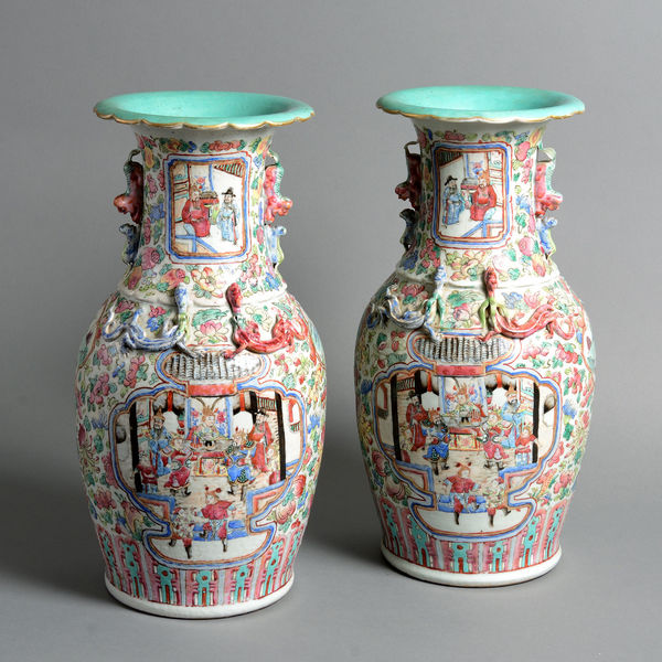 A 19th Century Pair Of Canton Porcelain Vases