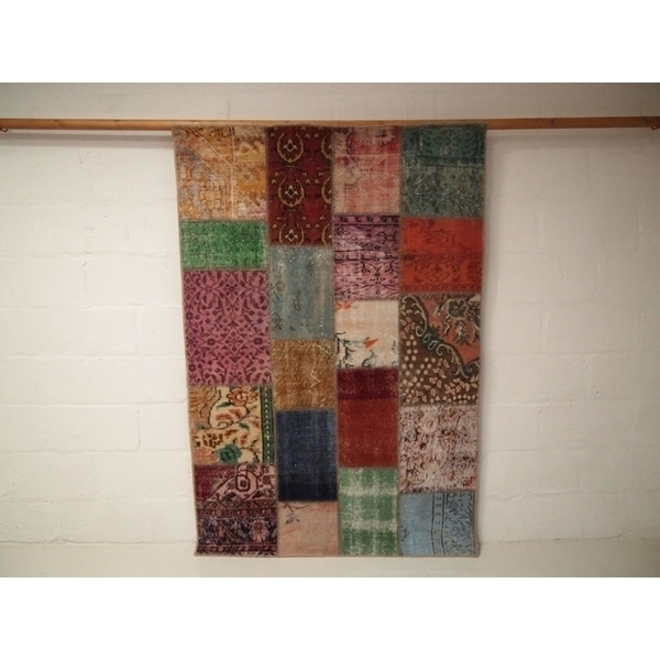 Vintage Patchwork Over Dyed Rug photo 1