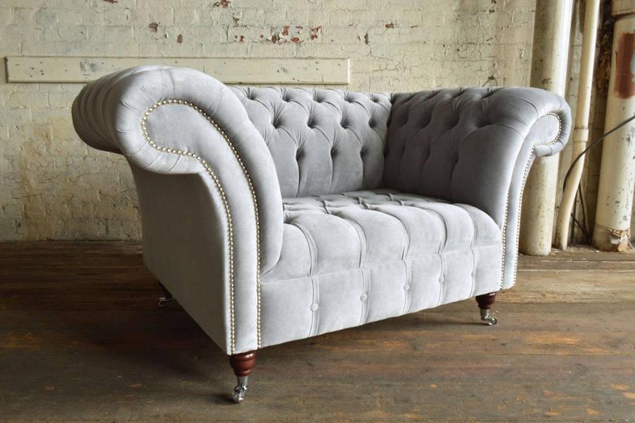 Vintage Silver Grey Velvet Chesterfield Snuggle Chair/Loveseat 2 Seater Sofa