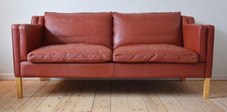 Danish Mid Century Sofa. Cognac Leather, 1980's.