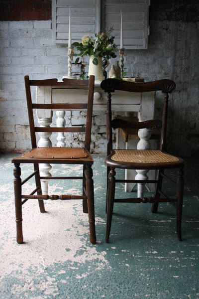Pretty Mis Matching Pair Of Vintage Wooden Chairs